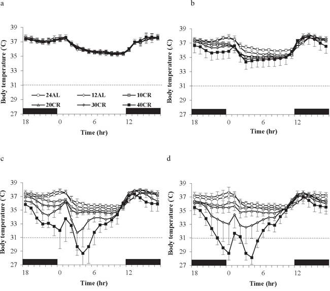 Body temperature fluctuations over a 24 hr period at varying timepoints over 12 weeks of calorie restriction (CR).