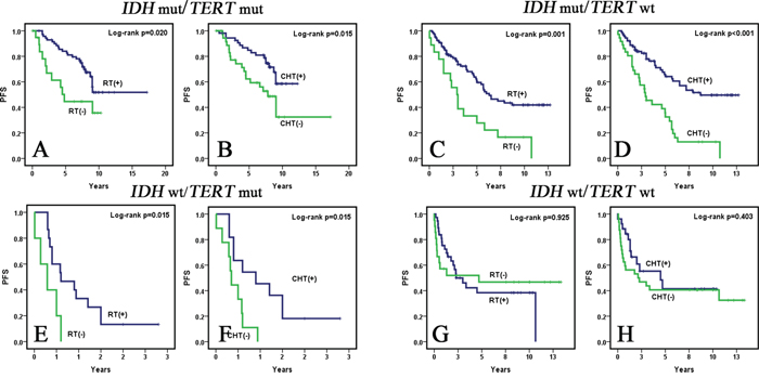 Kaplan-Meier survival curves (univariate analysis) of adjuvant therapies for PFS in subgroups of WHO grade II and III diffuse gliomas defined by IDH and TERT promoter mutations.