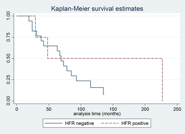Kaplan Meier curve for overall survival according to HFR status.