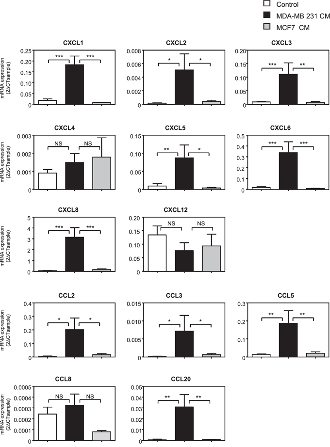 The expression of a number of chemokines is induced in MSCs treated with metastatic cancer cell conditioned medium.