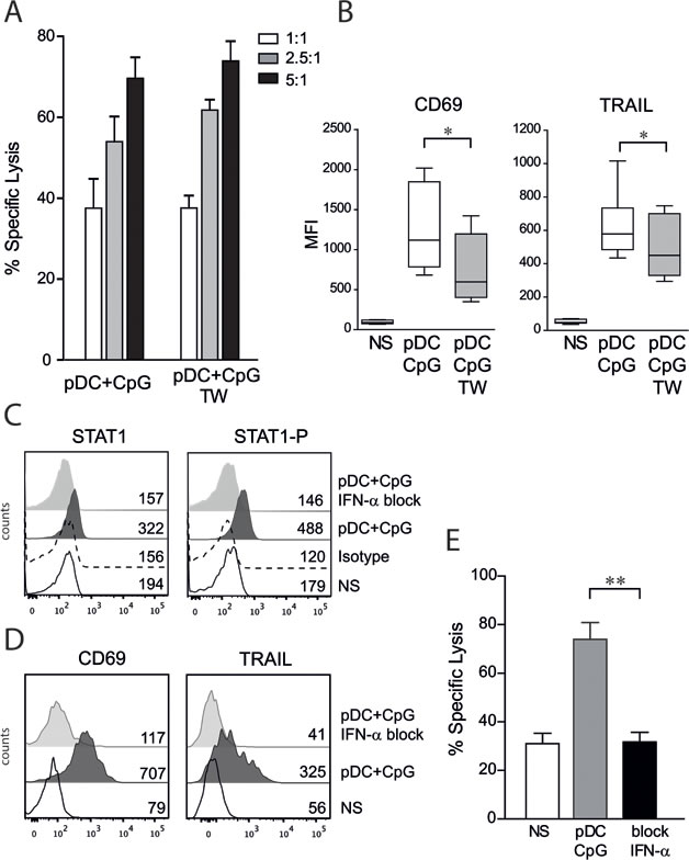 NK cell activation by TLR9-stimulated pDCs is contact independent and IFN-α dependent.