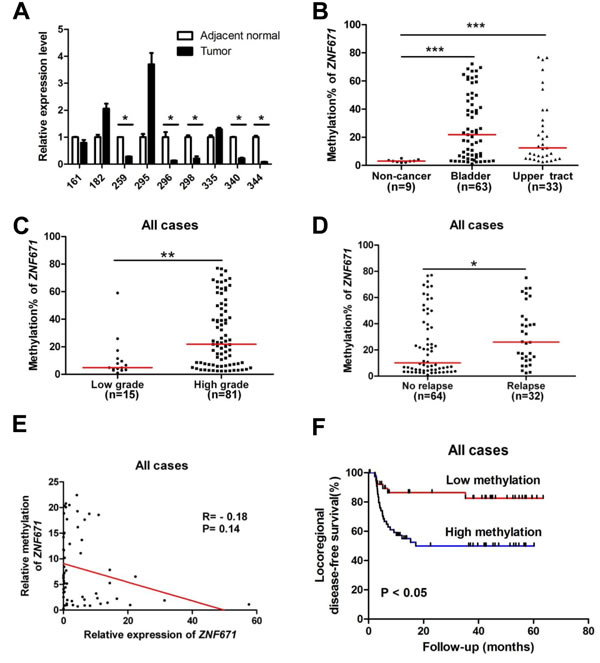 ZNF671 is epigenetically silenced by promoter hypermethylation in UC patients, and associates with tumor recurrence.
