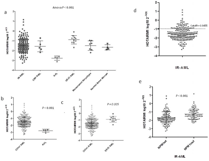 HOTAIRM1 expression levels in AML patients and healthy controls.
