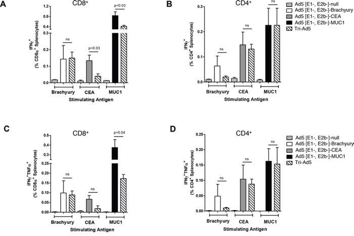 Analysis of CD8+ and CD4+ and multifunctional cellular populations following vaccination with Ad5 [E1-, E2b-]-brachyury, Ad5 [E1-, E2b-]-CEA, Ad5 [E1-, E2b-]-MUC1, Tri-Ad5, or Ad5 [E1-, E2b-]-null.