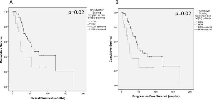 Kaplan-Meier plots of survival based upon SNP functional score.