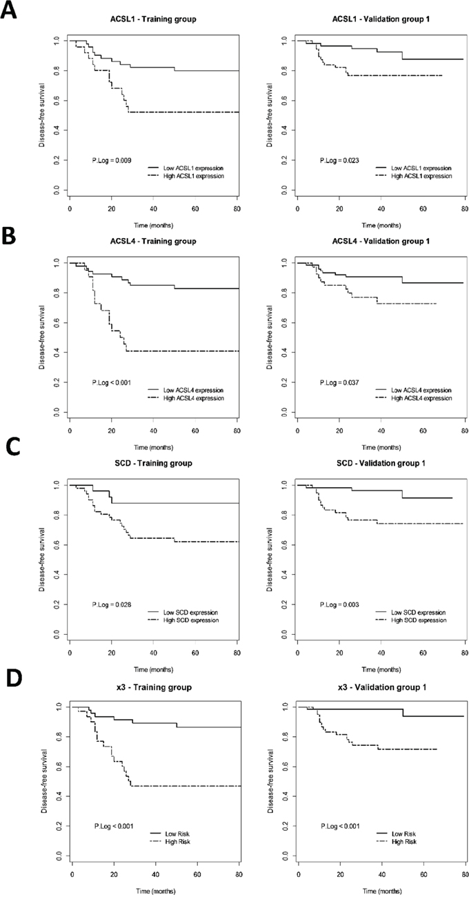 Prognostic value of ACSL1/ACSL4/SCD individual or simultaneous (x3) overexpression in early-stage CRC patients.