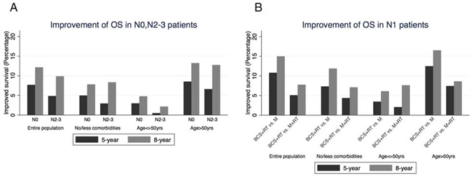 A. Improvement of OS in N0, N2–3 patients. The benefit of 5-year and 8-year OS was calculated by comparing BCS+RT with mastectomy alone in N0 patients, and with mastectomy+RT in N2–3 patients.