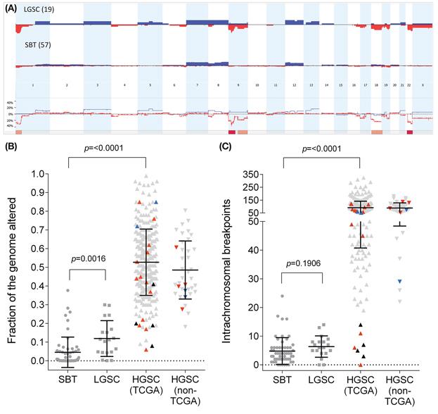 Genomic aberration levels in serous ovarian tumours.