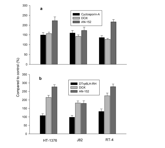 Figure 5:Effects of AN-152, and DOX on HT-1376, J82 and RT-4 human urinary bladder cancer cells in vitro.