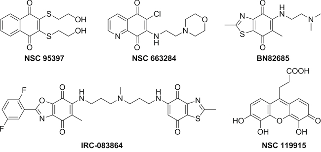 Known quinone-containing CDC25 Inhibitors.