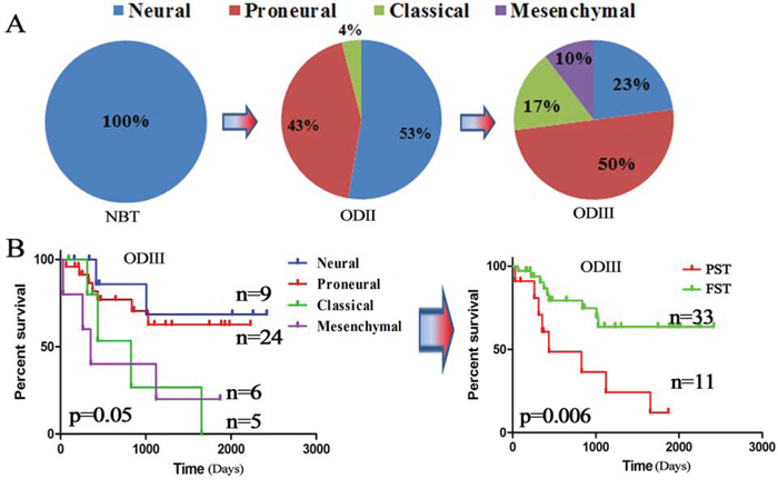 TCGA subtypes were associated with OD grades.