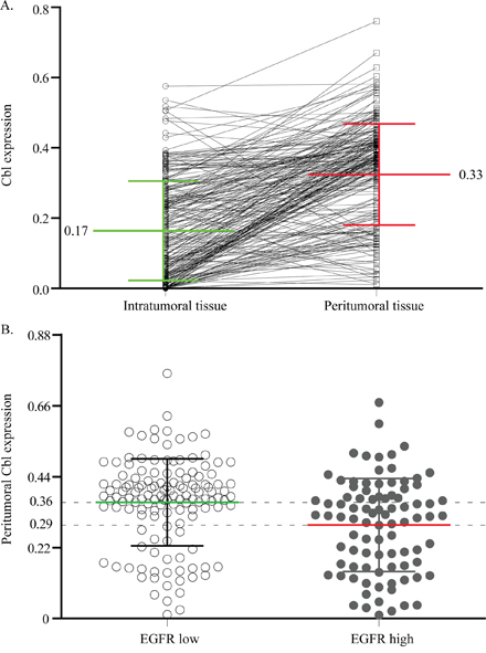 The correlation of Cbl between intratumoral and peritumoral tissue, or peritumoral EGFR low and high expression cases.