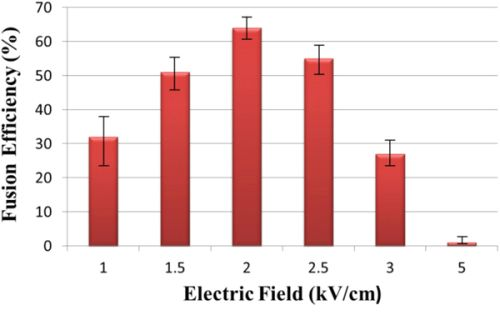 Effect of change in electric field on fusion efficiency.