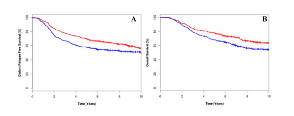 Kaplan-Meier survival curves for low CIN25 score [red line] and high CIN25 score (blue line) for distant relapse free survival (A) and overall survival (B).