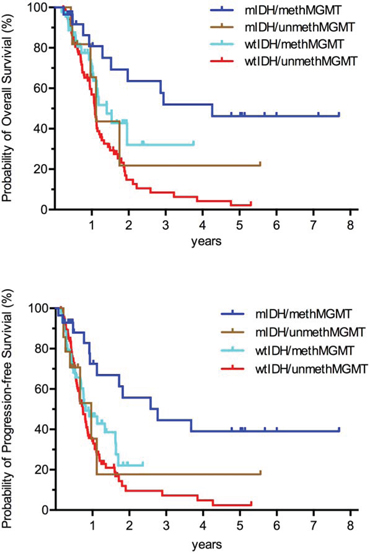 Kaplan–Meier curves showing that, among GBMs, patients with both IDH mutation and MGMT promoter methylation exhibited the best prognosis; patients harboring either mutated IDH or methylated MGMT promoter exhibited intermediate prognosis; patients with wild-type IDH and unmethylated MGMT promoter exhibited the worst.