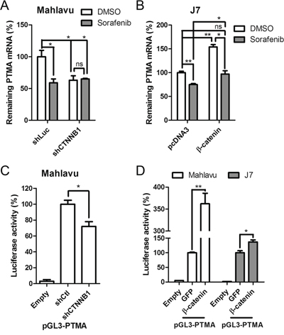 Sorafenib and β-catenin silencing attenuates PTMA expression through inhibition of mRNA expression.