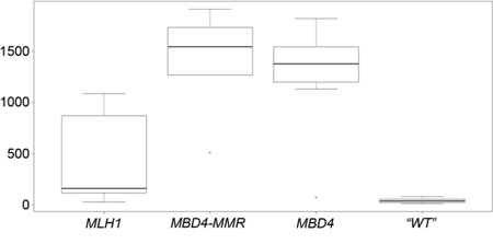 """Box-and-whisker plot of the number of C:G > T:A transition mutations in MLH1, MBD4-MMR, MBD4 and """"WT"""" CRC groups."""