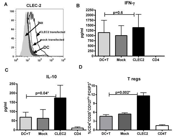 CLEC-2 expression on DC induces T regulatory cells.