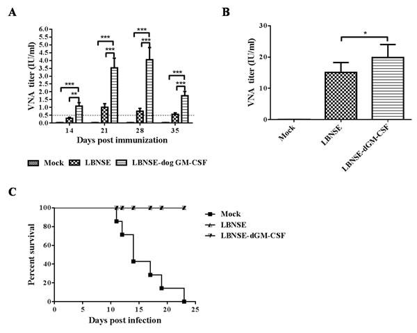 Detection of VNA titer after oral immunization and survivorship after challenge.
