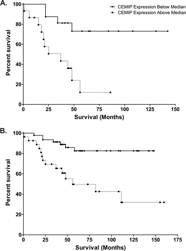 Kaplan-Meier analyses of survival in CEMIP high (values greater than 1.024, selected as median of stage III colon cancer cases)
