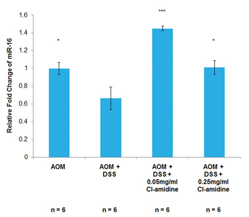 MiR-16 expression is increased in the colon epithelial cells of mice treated with Cl-amidine.