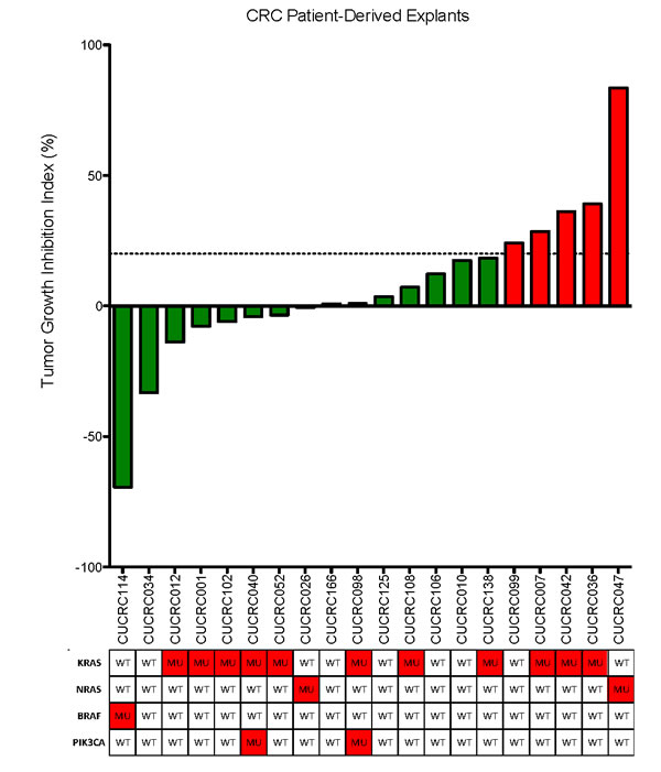Tumor growth inhibition index (TGII) of all explants: TGII = treated over control, thus lower numbers indicate greater tumor reduction.