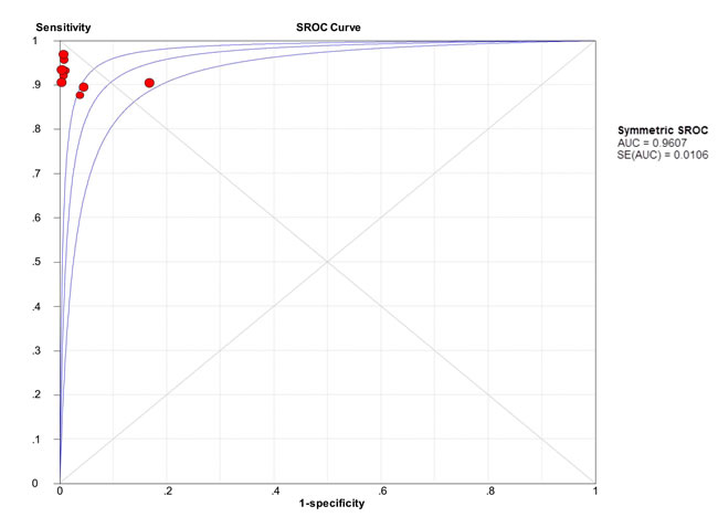 Summary receiver operating characteristic (SROC) curve for urine BLCA-4 in the diagnosis of bladder cancer of the included nine studies.