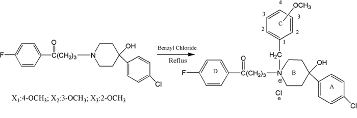 Scheme 1: Synthesis of para-, meta- and ortho-substituted N-methoxy-benzyl haloperidol derivatives.