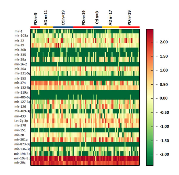 Heatmap of CSF exosomal differential miRNA profiles in PD and AD.