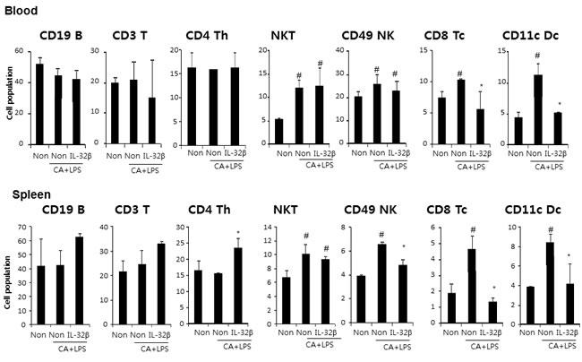 Effect of IL32β on immune cells in inflammatory arthritis IL32β mice.
