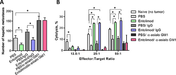 Entolimod antitumor activity of against UM metastases is NK cell-dependent.