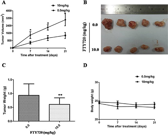 Inhibition of xenograft tumor growth by FTY720.