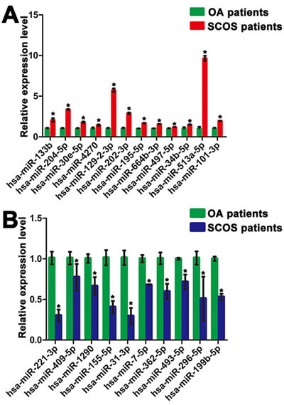 Figure 3 : Distinct expression patterns of miRNAs in human Sertoli cells between OA patients and SCOS patients.