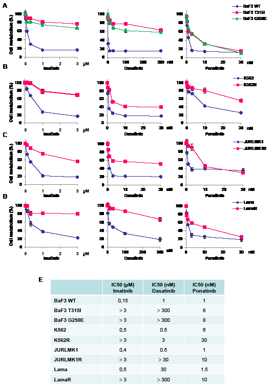 Ponatinib induces a loss of viability in different TKI-resistant cell lines.