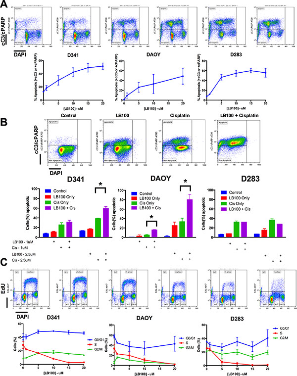 Analysis of LB100 induced apoptosis and cell cycle changes.