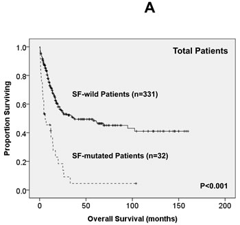 Kaplan-Meier survival curves for overall survival and disease-free survival stratified by the status of SF mutations in total 363 AML patients (A and B), 229 patients with intermediate-risk cytogenetics (C and D) and 161 patients with normal karyotype (E and F) who received standard intensive chemotherapy.