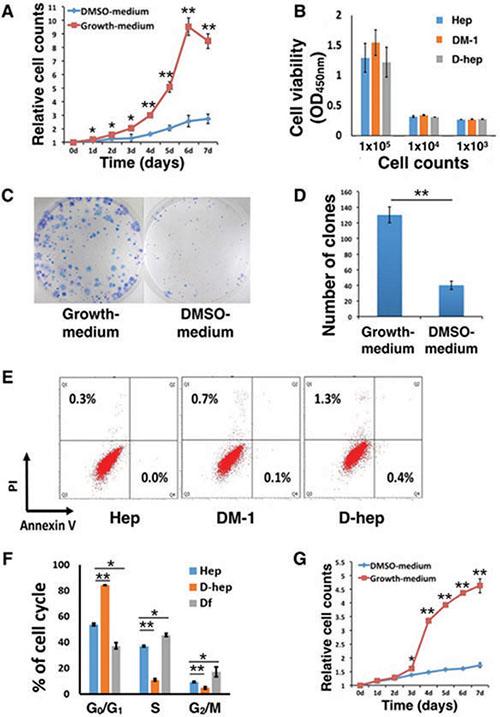 DMSO altered the in vitro proliferation ability and in vivo tumorigenicity of Hep cells.