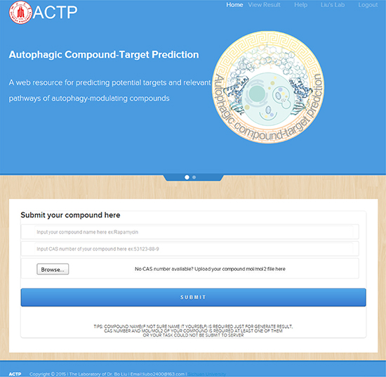 The ACTP user interface.