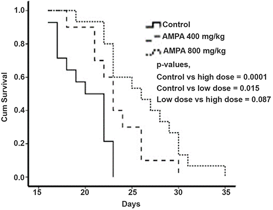 AMPA treatment prolongs the survival time of mice with prostate tumors.