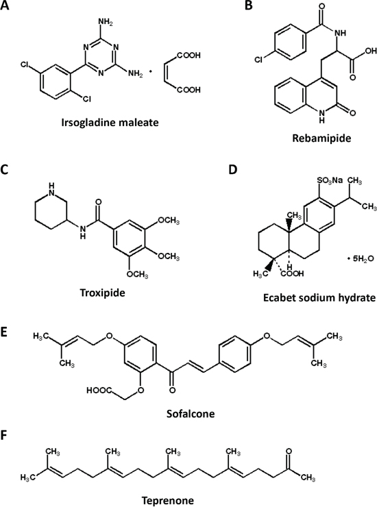 Chemical structures of six gastric mucosal protectants.