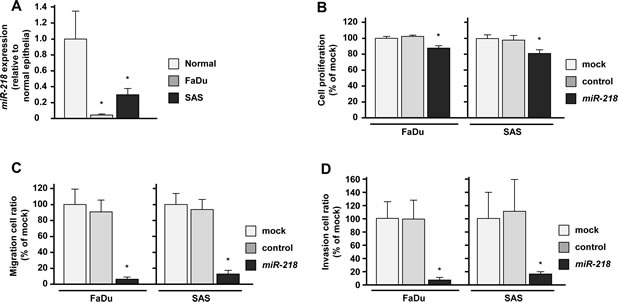 Effects of miR-218 transfection on HNSCC cell lines, FaDu and SAS.