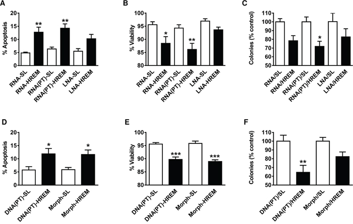 Effect of chemically modified GAS5 HREM RNA and DNA oligonucleotides on the basal survival of MCF7 cells.