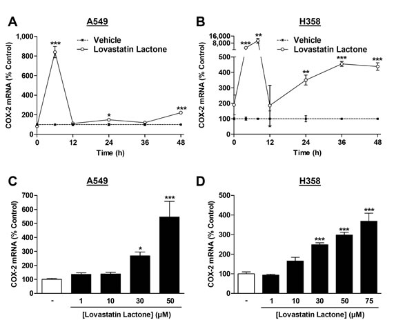 Effect of lovastatin lactone on COX-2 mRNA expression in A549 and H358 cells.