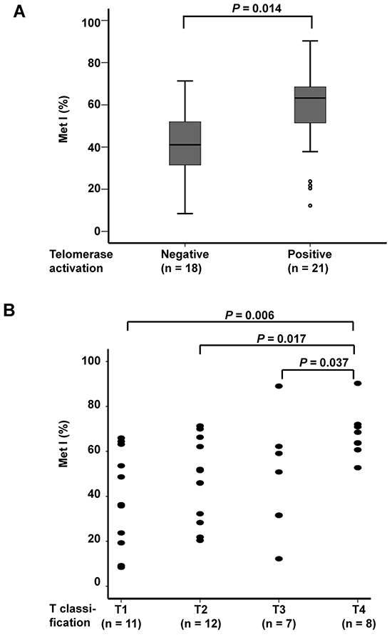 Comparison of TERT promoter MetI with telomerase activation status and tumor size of the 38 sporadic MTCs.