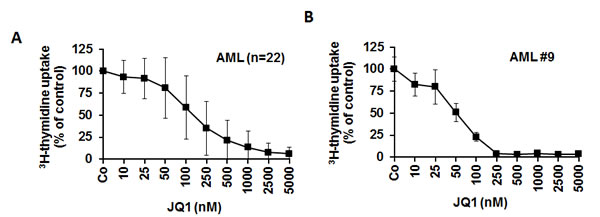 Effects of JQ1 on proliferation of AML cells.