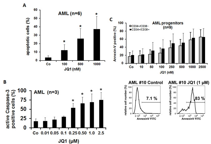 Effects of JQ1 on survival of AML stem- and progenitor cells.