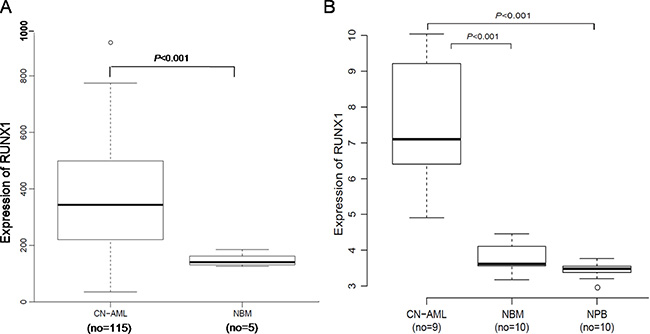 Expression of RUNX1 in CN-AML patients and NBM.