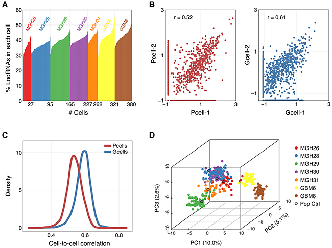 Characterization and correlation between single cell profiles of selected lncRNAs.