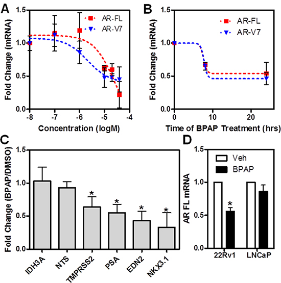 BPAP reduces AR full length and AR-V7 mRNA level in 22Rv1 cells.