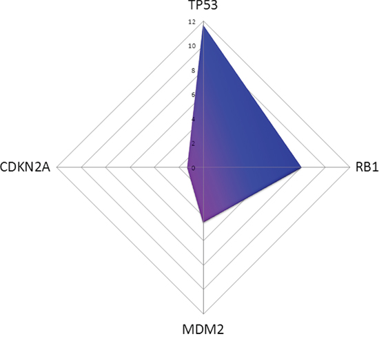 In silico prediction of miRNAs affecting TP53 pathway members in MDM2-negativ tumours compared to MDM2-positive ones is shown.